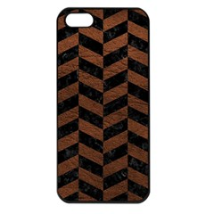 Chevron1 Black Marble & Dull Brown Leather Apple Iphone 5 Seamless Case (black) by trendistuff