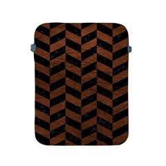 Chevron1 Black Marble & Dull Brown Leather Apple Ipad 2/3/4 Protective Soft Cases by trendistuff