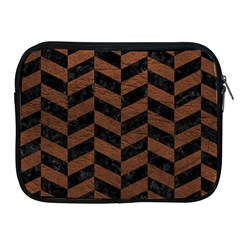 Chevron1 Black Marble & Dull Brown Leather Apple Ipad 2/3/4 Zipper Cases by trendistuff