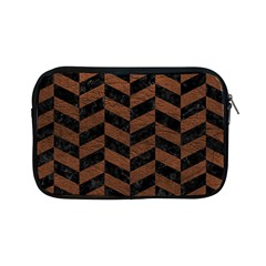 Chevron1 Black Marble & Dull Brown Leather Apple Ipad Mini Zipper Cases by trendistuff