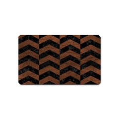 Chevron2 Black Marble & Dull Brown Leather Magnet (name Card)