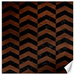 Chevron2 Black Marble & Dull Brown Leather Canvas 12  X 12   by trendistuff