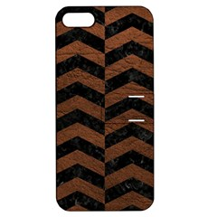 Chevron2 Black Marble & Dull Brown Leather Apple Iphone 5 Hardshell Case With Stand by trendistuff