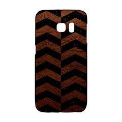 Chevron2 Black Marble & Dull Brown Leather Galaxy S6 Edge