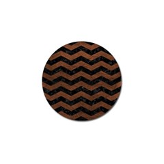 Chevron3 Black Marble & Dull Brown Leather Golf Ball Marker (10 Pack) by trendistuff