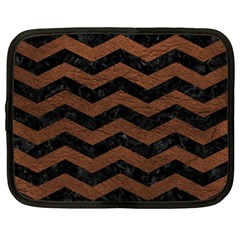 Chevron3 Black Marble & Dull Brown Leather Netbook Case (large) by trendistuff