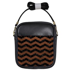 Chevron3 Black Marble & Dull Brown Leather Girls Sling Bags by trendistuff