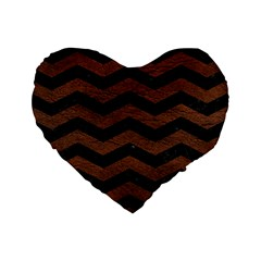 Chevron3 Black Marble & Dull Brown Leather Standard 16  Premium Heart Shape Cushions by trendistuff