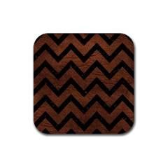 Chevron9 Black Marble & Dull Brown Leather Rubber Coaster (square)  by trendistuff