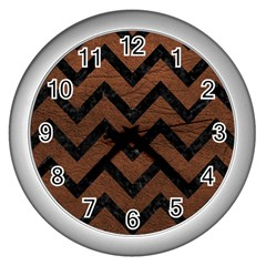 Chevron9 Black Marble & Dull Brown Leather Wall Clocks (silver)  by trendistuff