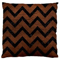 Chevron9 Black Marble & Dull Brown Leather Large Cushion Case (two Sides) by trendistuff
