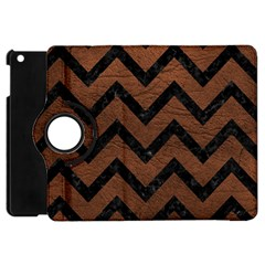 Chevron9 Black Marble & Dull Brown Leather Apple Ipad Mini Flip 360 Case by trendistuff