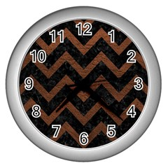 Chevron9 Black Marble & Dull Brown Leather (r) Wall Clocks (silver)  by trendistuff