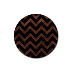 Chevron9 Black Marble & Dull Brown Leather (r) Rubber Round Coaster (4 Pack)  by trendistuff
