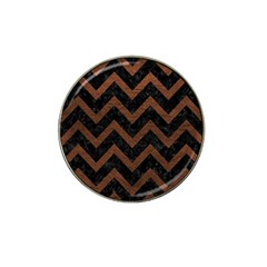 Chevron9 Black Marble & Dull Brown Leather (r) Hat Clip Ball Marker (10 Pack) by trendistuff