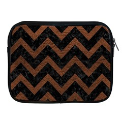 Chevron9 Black Marble & Dull Brown Leather (r) Apple Ipad 2/3/4 Zipper Cases by trendistuff