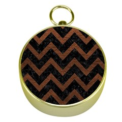 Chevron9 Black Marble & Dull Brown Leather (r) Gold Compasses by trendistuff