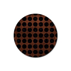 Circles1 Black Marble & Dull Brown Leather Rubber Coaster (round)