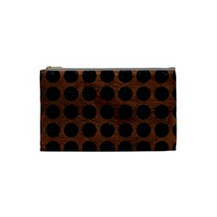 Circles1 Black Marble & Dull Brown Leather Cosmetic Bag (small)  by trendistuff