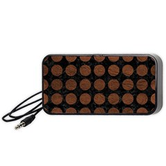 Circles1 Black Marble & Dull Brown Leather (r) Portable Speaker by trendistuff