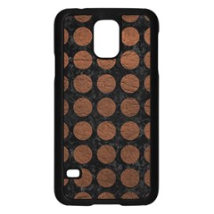 Circles1 Black Marble & Dull Brown Leather (r) Samsung Galaxy S5 Case (black) by trendistuff