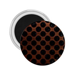 Circles2 Black Marble & Dull Brown Leather 2 25  Magnets by trendistuff