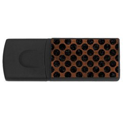 Circles2 Black Marble & Dull Brown Leather Rectangular Usb Flash Drive by trendistuff