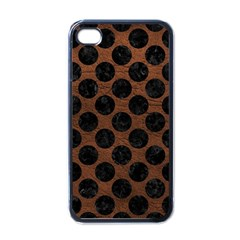 Circles2 Black Marble & Dull Brown Leather Apple Iphone 4 Case (black) by trendistuff