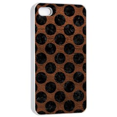 Circles2 Black Marble & Dull Brown Leather Apple Iphone 4/4s Seamless Case (white) by trendistuff