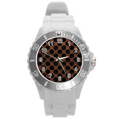 Circles2 Black Marble & Dull Brown Leather Round Plastic Sport Watch (l) by trendistuff