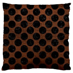 Circles2 Black Marble & Dull Brown Leather Large Cushion Case (two Sides) by trendistuff