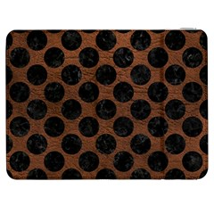 Circles2 Black Marble & Dull Brown Leather Samsung Galaxy Tab 7  P1000 Flip Case by trendistuff