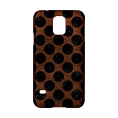 Circles2 Black Marble & Dull Brown Leather Samsung Galaxy S5 Hardshell Case  by trendistuff