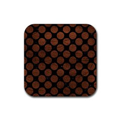 Circles2 Black Marble & Dull Brown Leather (r) Rubber Square Coaster (4 Pack)  by trendistuff