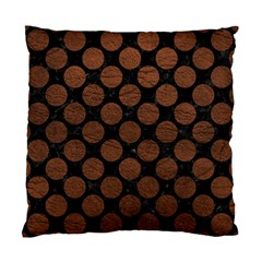 Circles2 Black Marble & Dull Brown Leather (r) Standard Cushion Case (one Side) by trendistuff