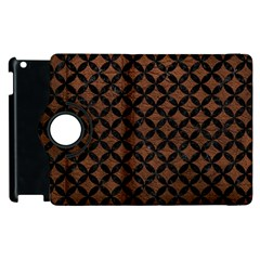 Circles3 Black Marble & Dull Brown Leather Apple Ipad 2 Flip 360 Case by trendistuff