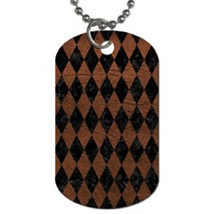 Diamond1 Black Marble & Dull Brown Leather Dog Tag (two Sides) by trendistuff