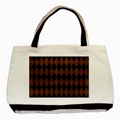 Diamond1 Black Marble & Dull Brown Leather Basic Tote Bag by trendistuff