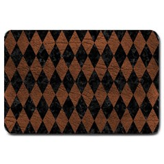 Diamond1 Black Marble & Dull Brown Leather Large Doormat  by trendistuff