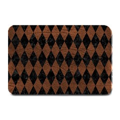 Diamond1 Black Marble & Dull Brown Leather Plate Mats
