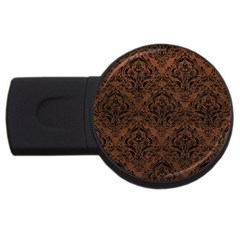 Damask1 Black Marble & Dull Brown Leather Usb Flash Drive Round (2 Gb) by trendistuff