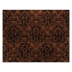 Damask1 Black Marble & Dull Brown Leather Rectangular Jigsaw Puzzl by trendistuff