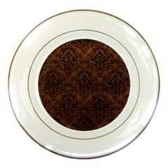 Damask1 Black Marble & Dull Brown Leather Porcelain Plates by trendistuff