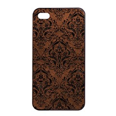 Damask1 Black Marble & Dull Brown Leather Apple Iphone 4/4s Seamless Case (black) by trendistuff