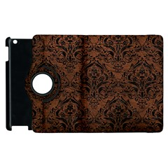 Damask1 Black Marble & Dull Brown Leather Apple Ipad 3/4 Flip 360 Case by trendistuff