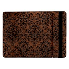 Damask1 Black Marble & Dull Brown Leather Samsung Galaxy Tab Pro 12 2  Flip Case by trendistuff