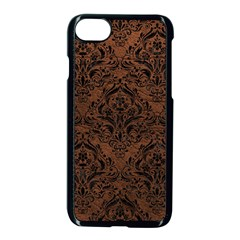 Damask1 Black Marble & Dull Brown Leather Apple Iphone 8 Seamless Case (black) by trendistuff