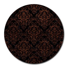 Damask1 Black Marble & Dull Brown Leather (r) Round Mousepads by trendistuff