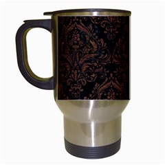 Damask1 Black Marble & Dull Brown Leather (r) Travel Mugs (white) by trendistuff