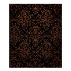 Damask1 Black Marble & Dull Brown Leather (r) Shower Curtain 60  X 72  (medium)  by trendistuff